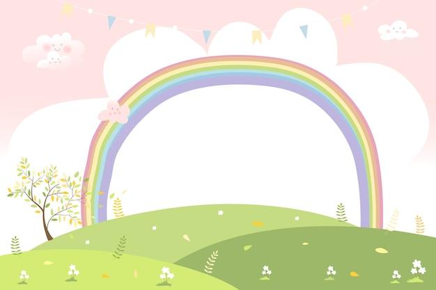 Simpatico cartone animato paesaggio primaverile con copia spazio, campo verde con colori pastello arcobaleno.