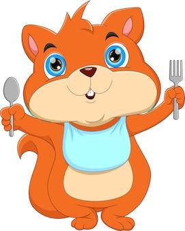 Scoiattolo simpatico cartone animato pronto da mangiare scoiattolo che tiene forchetta e cucchiaio Vettore Premium