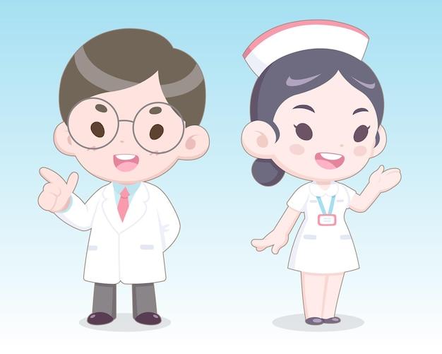 Cartoon carino stile doctorand illustrazione infermiera