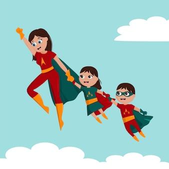 Simpatico cartone animato super mamma e figlia e figlio