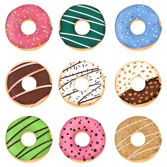 Simpatico cartone animato ciambelle dolci con vari sapori illustrazione colore pastello su sfondo bianco