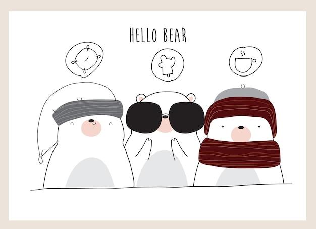 Simpatico cartone animato orsacchiotto e illustrazione amico