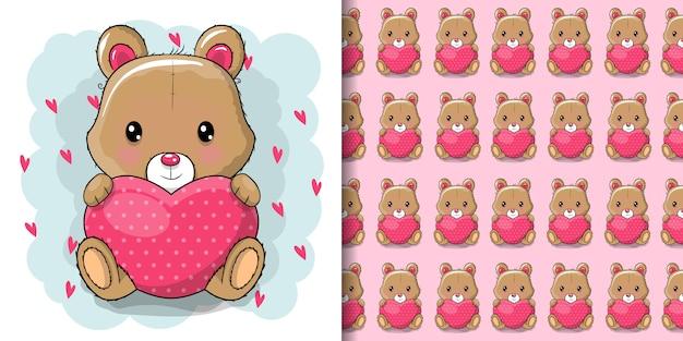 Ragazza sveglia dell'orsacchiotto del fumetto con cuore