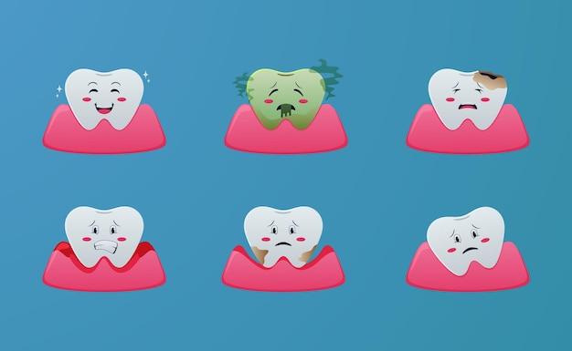 Problema di malattia dei denti simpatico cartone animato, gengivite, parodontite, alitosi, calcolo, carie, concetto di illustrazione con sfondo blu per dentista