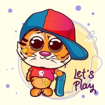 Ragazzo carino tigre cartone animato con skateboard - vector