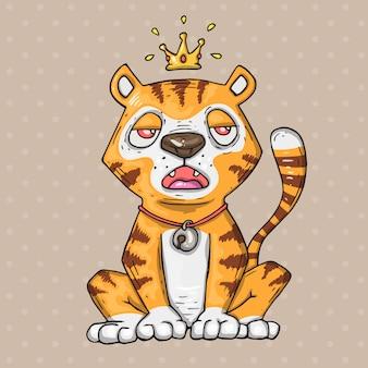 Tigre simpatico cartone animato. illustrazione del fumetto in stile alla moda comico. Vettore Premium