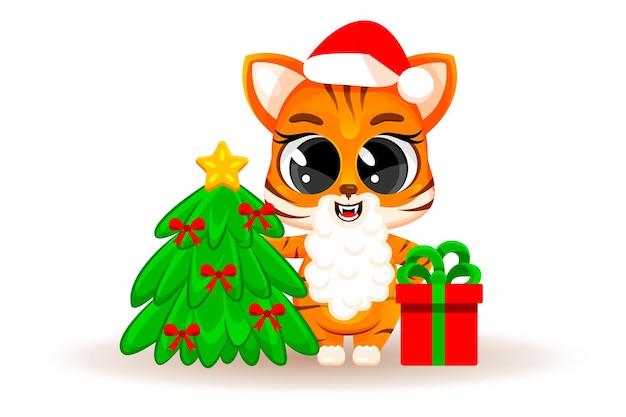 Cucciolo di tigre simpatico cartone animato con albero di natale e regalo. concetto di natale, capodanno cinese, un simbolo del 2022. adesivo alla moda. biglietto natalizio. illustrazione vettoriale isolato su sfondo bianco.
