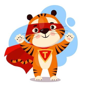 Tigre cartone animato carino in un mantello da supereroe rosso simbolo dell'anno della tigre