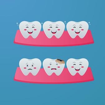 Carie della malattia dei denti dei cartoni animati e concetto di illustrazione dei denti normali per il concetto di cura dei bambini del dentista