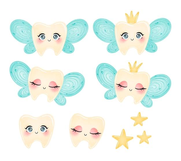 Set di fata dei denti simpatico cartone animato isolato