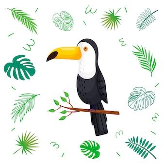 Tucano simpatico cartone animato con foglie tropicali.