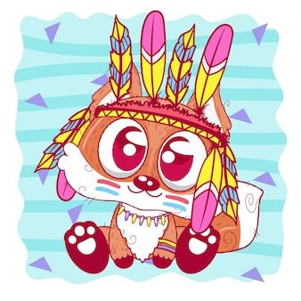 Cute cartoon tribale fox con piume