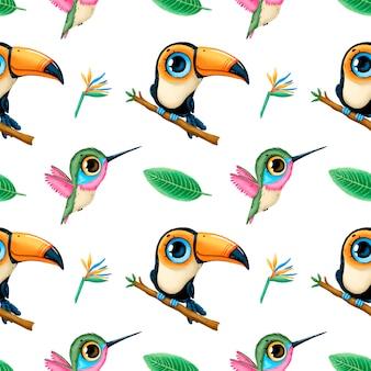 Modello senza cuciture di animali tropicali simpatico cartone animato. tucano, colibrì e foglie tropicali. reticolo senza giunte degli uccelli tropicali