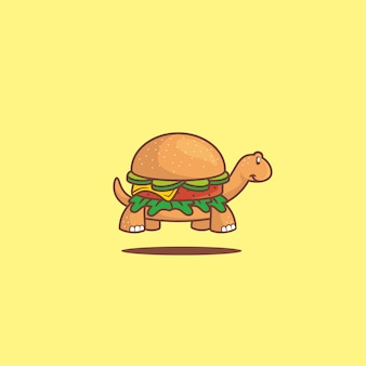 Simpatico cartone animato tartaruga hamburger icona cibo