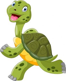 Tartaruga simpatico cartone animato è in esecuzione