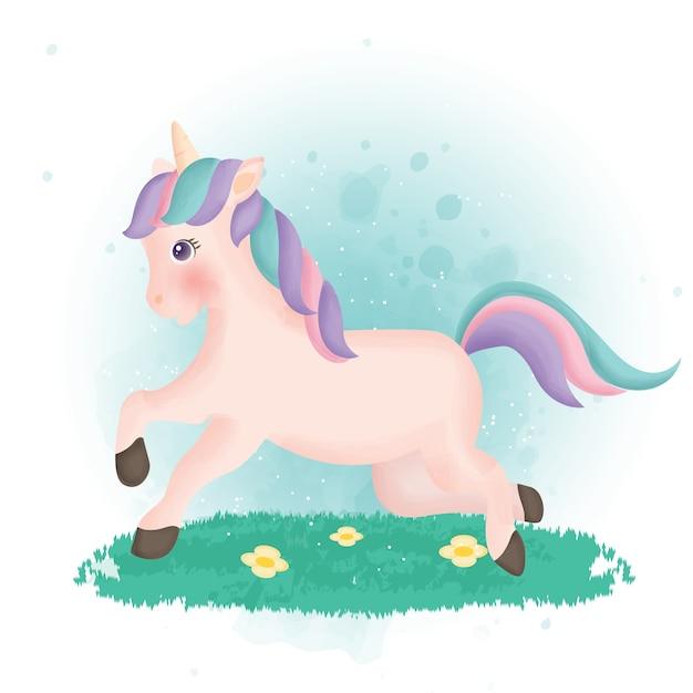 Carattere di unicorno simpatico cartone animato nel porcile di colore dell'acqua.