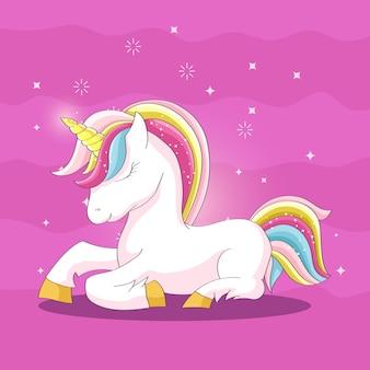 Carattere di unicorno simpatico cartone animato