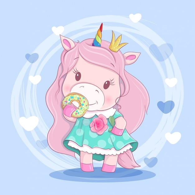 Ragazza di unicorno simpatico cartone animato in una corona di fiori e una ciambella
