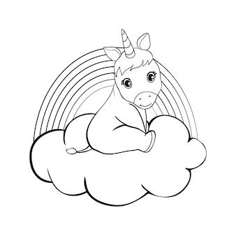Cute cartoon unicorns coloring book page illustrazione vettoriale, sfondo per bambini, unicorno da colorare, cartone animato pony magico, schizzo di animali, pagina da colorare di animali