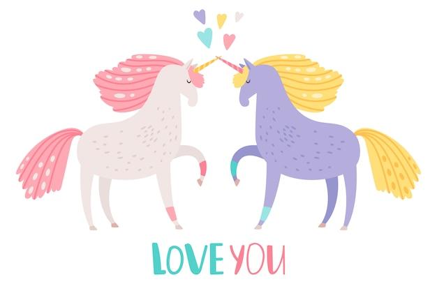 Unicorni svegli del fumetto nell'illustrazione di amore