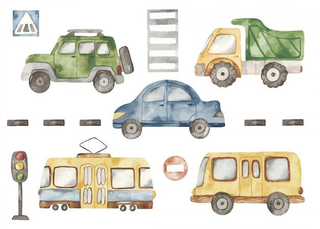 Trasporto urbano simpatico cartone animato in stile acquerello set