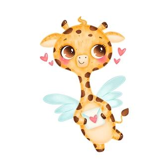Cartoon carino san valentino illustrazione di giraffa cupido con ali isolati su sfondo bianco