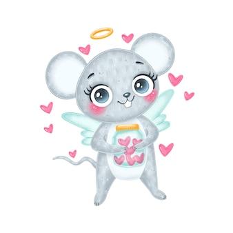Cartoon carino san valentino illustrazione di topo cupido con ali isolate su sfondo bianco