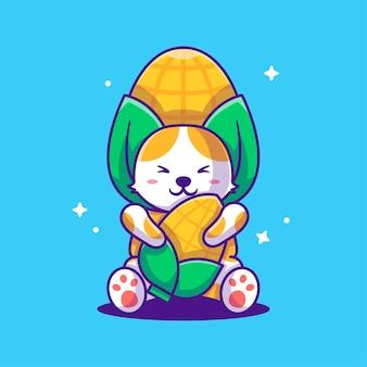 Cute cartoon illustrazioni vettoriali gatto con il costume di mais. concetto di giornata mondiale vegetariana