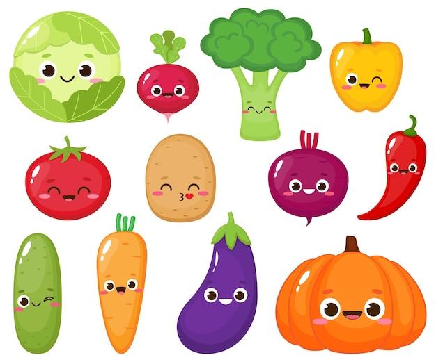 Collezione di simpatici personaggi vegetali dei cartoni animati