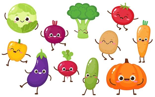 Vettore di raccolta di verdure simpatico cartone animato