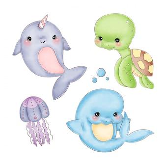 Gli animali di mare svegli dell'acquerello del fumetto hanno messo su un fondo bianco