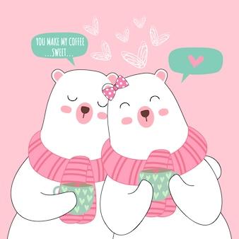Coppia di orso bianco simpatico cartone animato per san valentino Vettore Premium