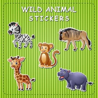 Animali selvatici simpatico cartone animato su adesivi