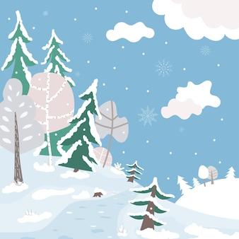 Simpatico cartone animato paesaggio forestale invernale natale parco innevato sfondo piatto illustrazione vettoriale