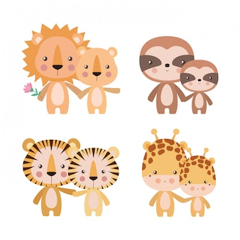Simpatici cartoni animati tigri giraffe leoni e bradipi insieme madri e cuccioli