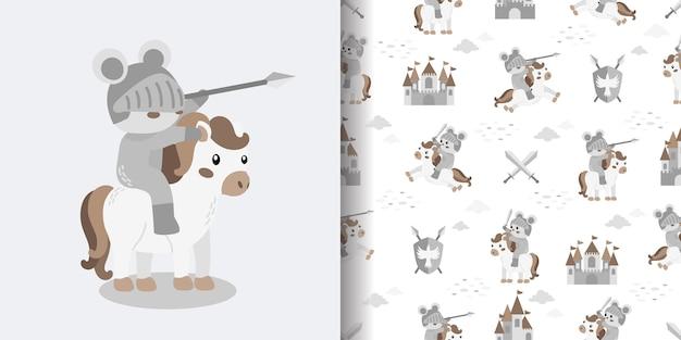 Illustrazione senza cuciture di progettazione della superficie della stampa del modello del fumetto sveglio del cavaliere del castello