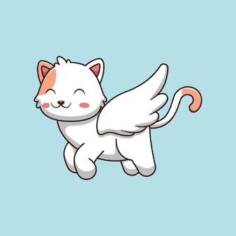 Illustrazione di cartone animato carino gatto angelo