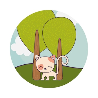 Animale sveglio del gatto nella scena del paesaggio