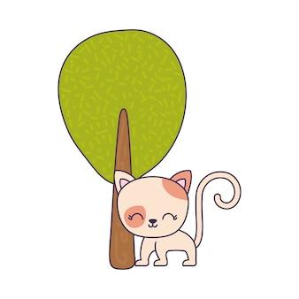 Animale simpatico gatto con pianta ad albero