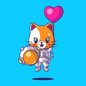 Simpatico gatto astronauta che gioca con l'illustrazione dell'icona del palloncino del cuore