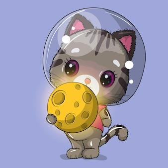 Astronauta gatto carino con illustrazione della luna