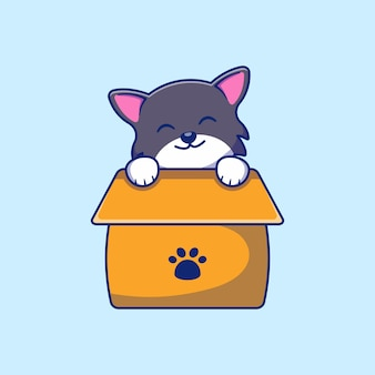 Disegno dell'illustrazione di un simpatico gatto in una scatola