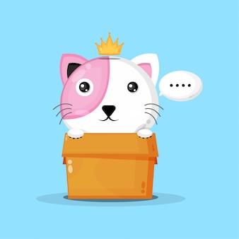 Simpatico gatto nella scatola