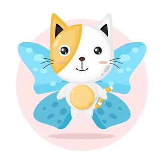 Simpatico personaggio farfalla gatto