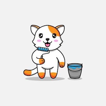 Simpatico gatto che trasporta strumento di pittura