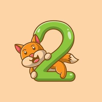 Simpatico cartone animato gatto di numero 2