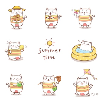 Simpatico cartone animato gatto disegnato a mano per la collezione estiva.
