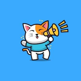Illustrazione di cartone animato carino gatto