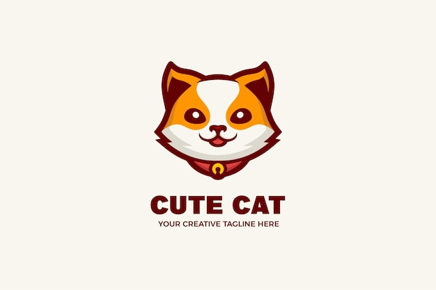 Modello di logo mascotte dei cartoni animati simpatico gatto