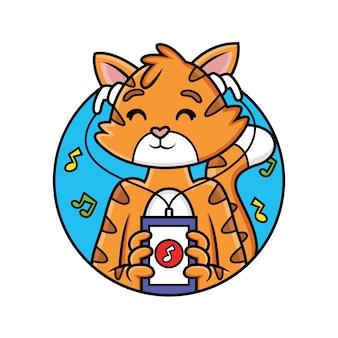Simpatico cartone animato gatto gioca musica